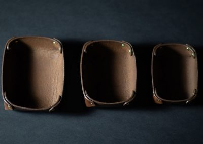 Leather accessories tray