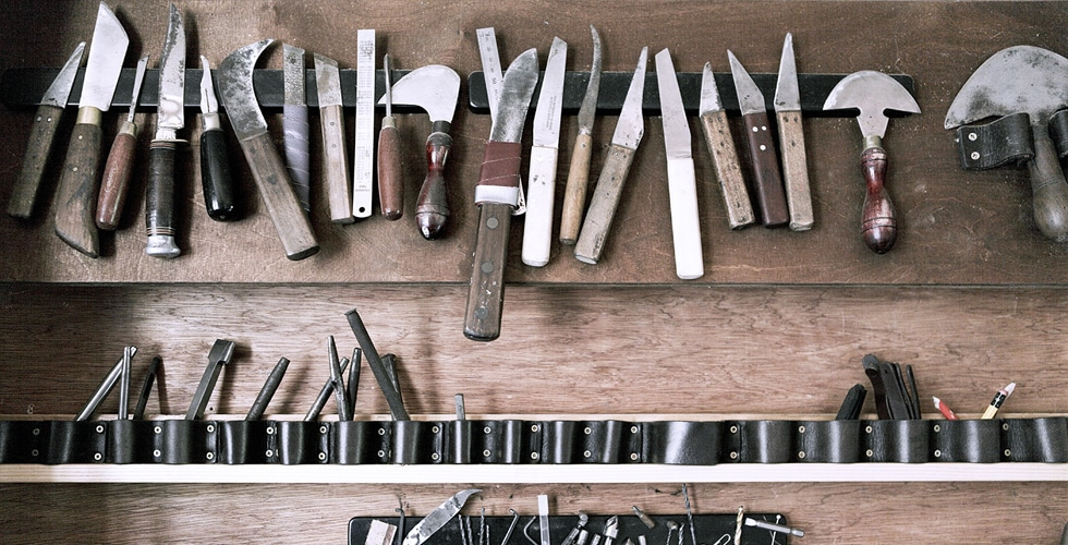 Leather Craftsman's tools at DE BRUIR
