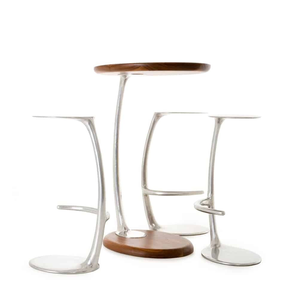 DE BRUIR - Polished Aluminium Stools 12
