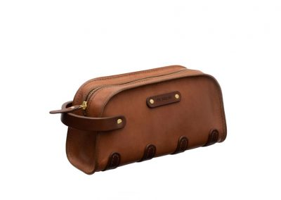 Toiletry Bag Beige Leather